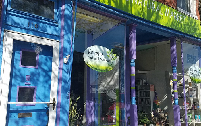 Blue and Purple retail storefront