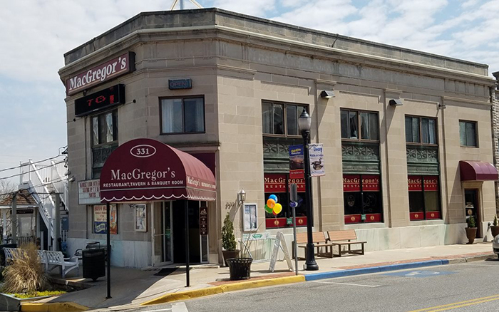 MacGregor's Restaurant front with large red awnings