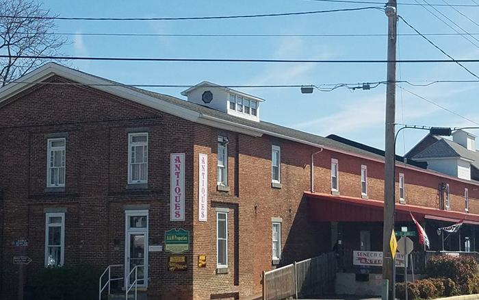 Brick antique building on city block